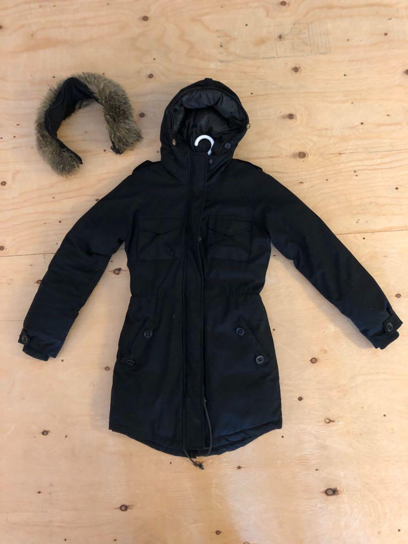 Community Paradigm Parka Coat - Black - XS - Removable Faux Fur Hood