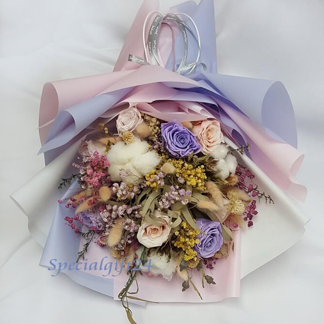 花束永生花EF12乾花再造花畢業禮生日訂婚求婚用品wedding flower