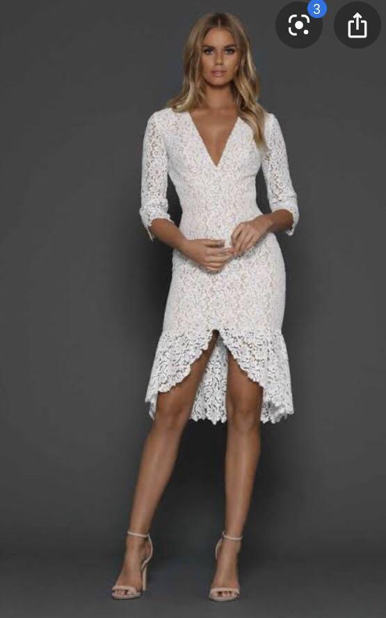 Elle Zeitoune Sz 10 white/nude dress bnwt wedding christening communion etc