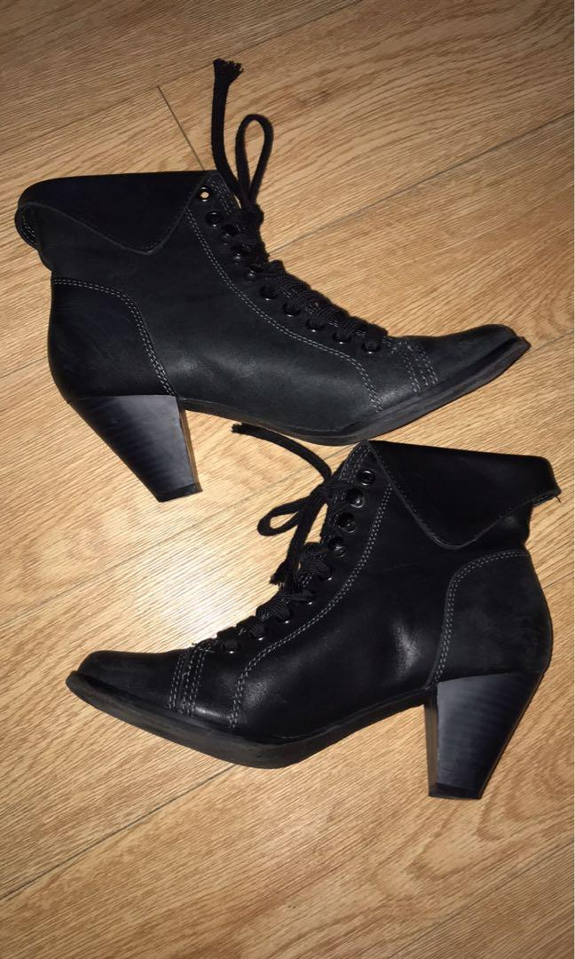Excellent condition leather black low heel booties