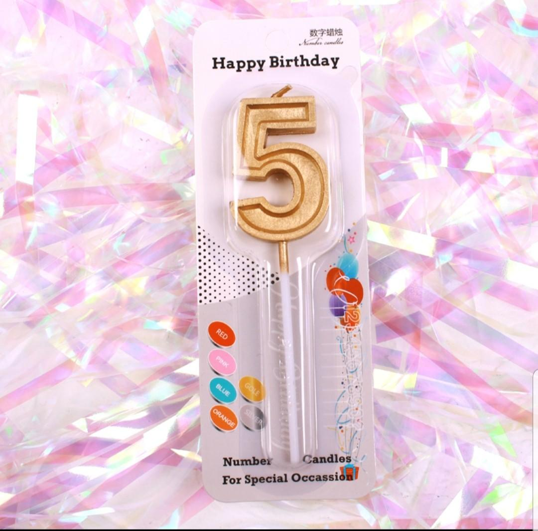 Gold Number Cake Candles