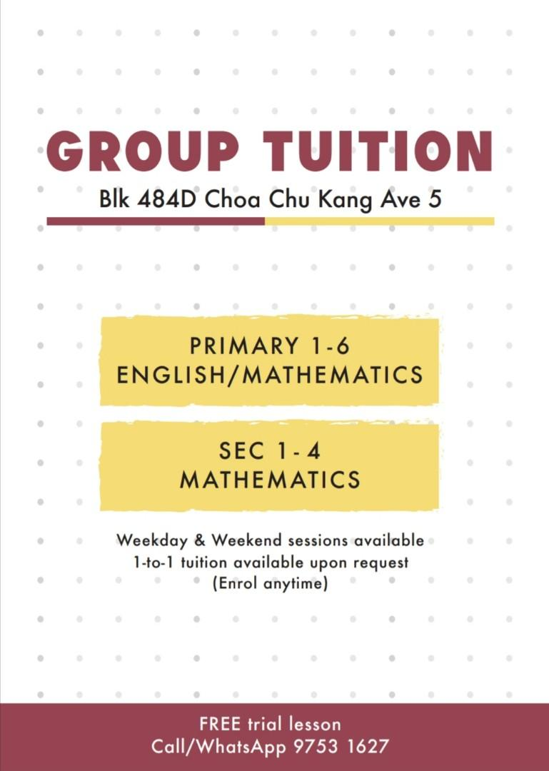 Group Tuition or 1-to-1