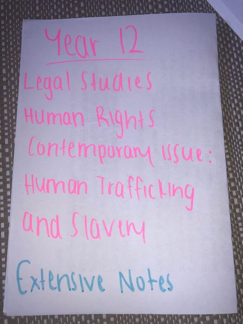 Legal Studies HSC Human Trafficking and Slavery notes