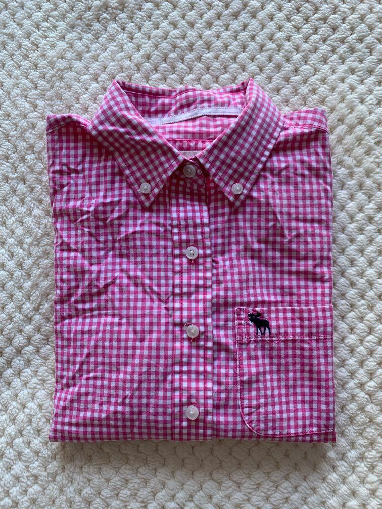 Long-Sleeve Abercrombie & Fitch Pink Checkered Collared Shirt