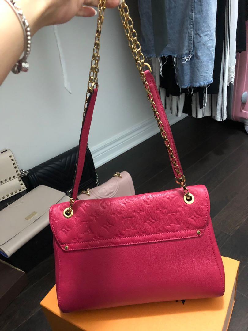 LOUIS VUITTON Saint-Germain Mm Dark Pink Monogram Empreinte Leather shoulder bag