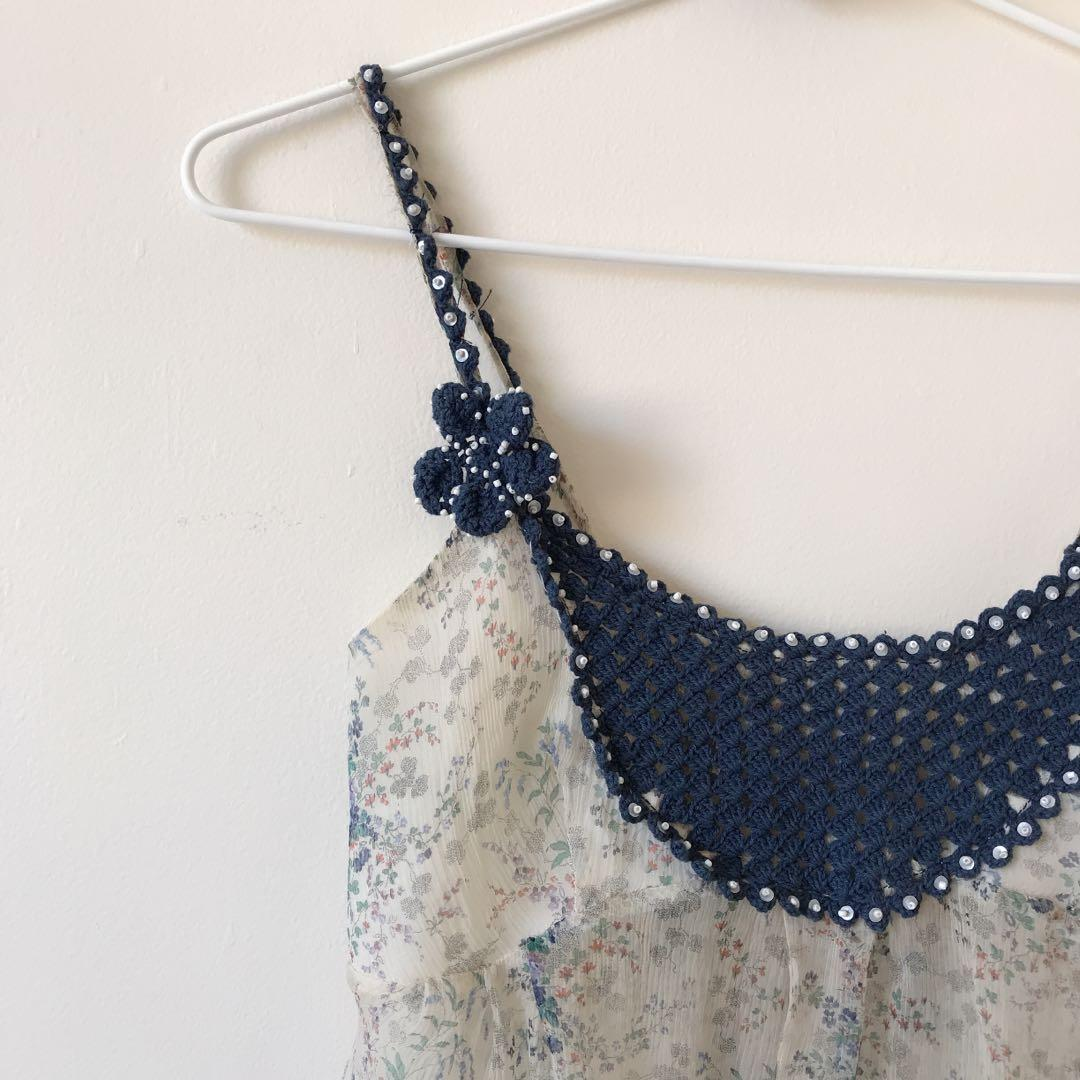 *made in Italy* crocheted silk cami top size S
