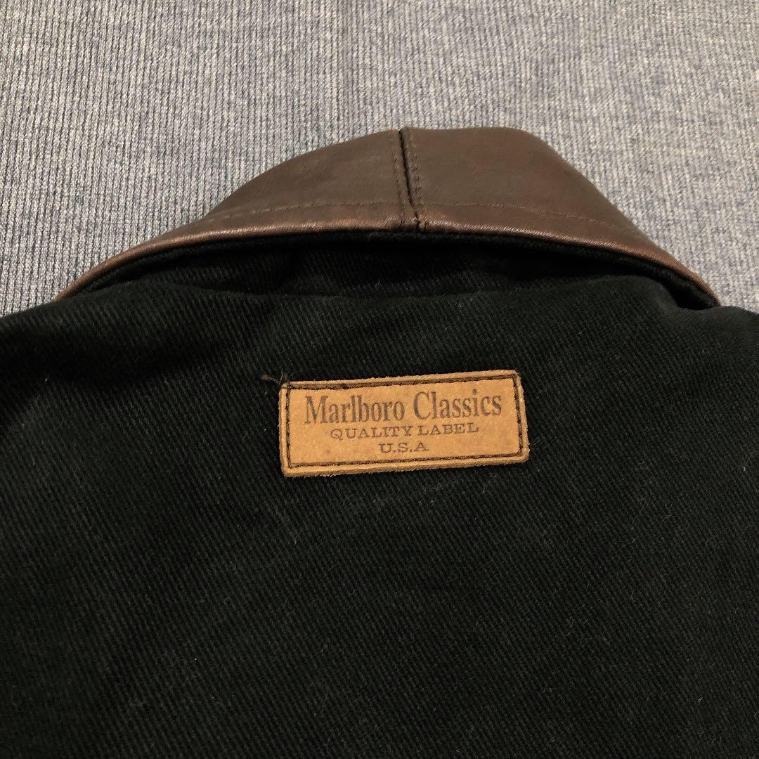 Marlboro Classics 古著黑色皮領中長版外套