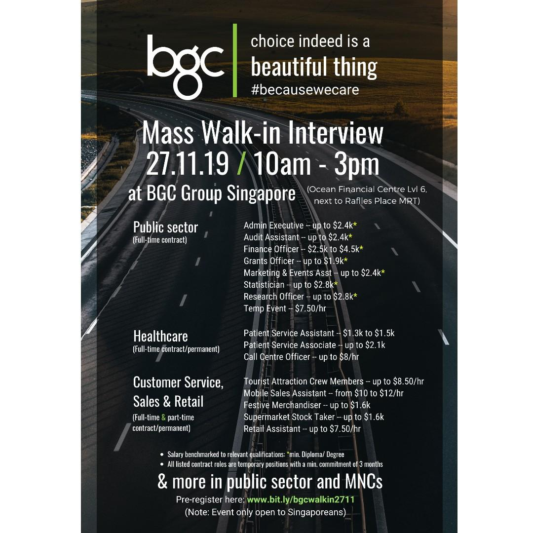 MASS WALK-IN INTERVIEWS ON 27.11.19