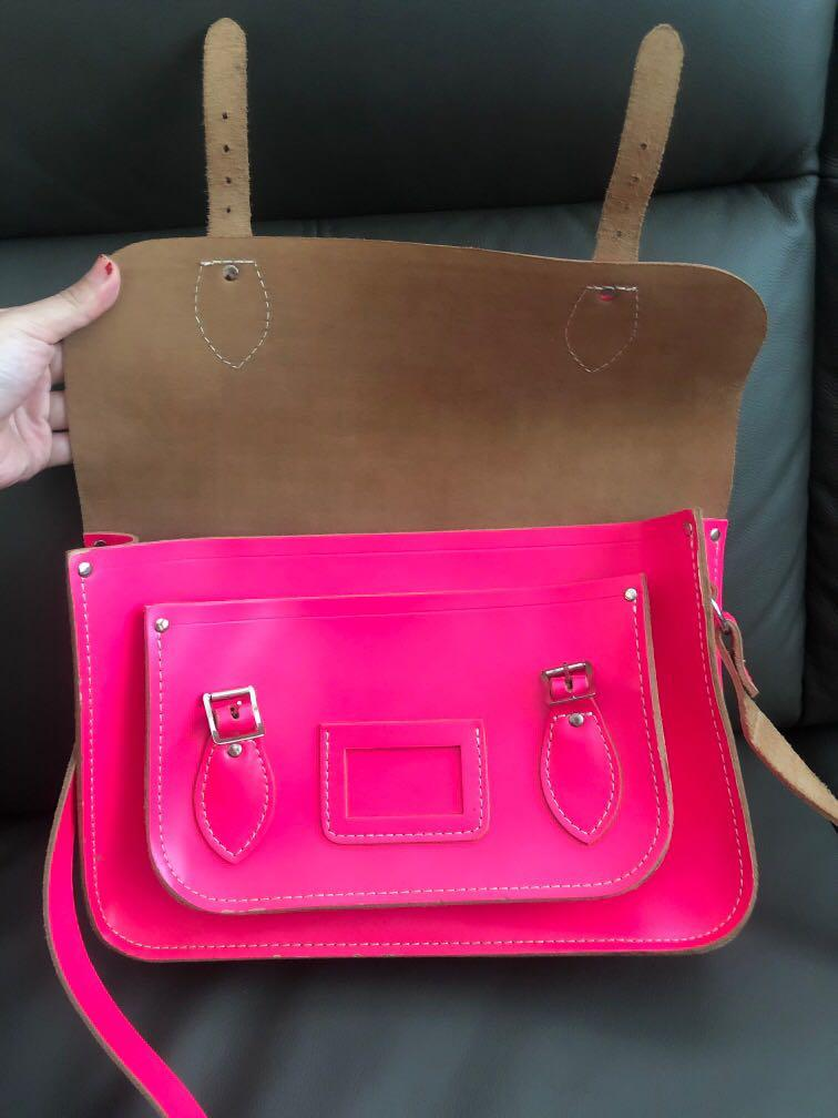 Neon Pink Leather Satchel