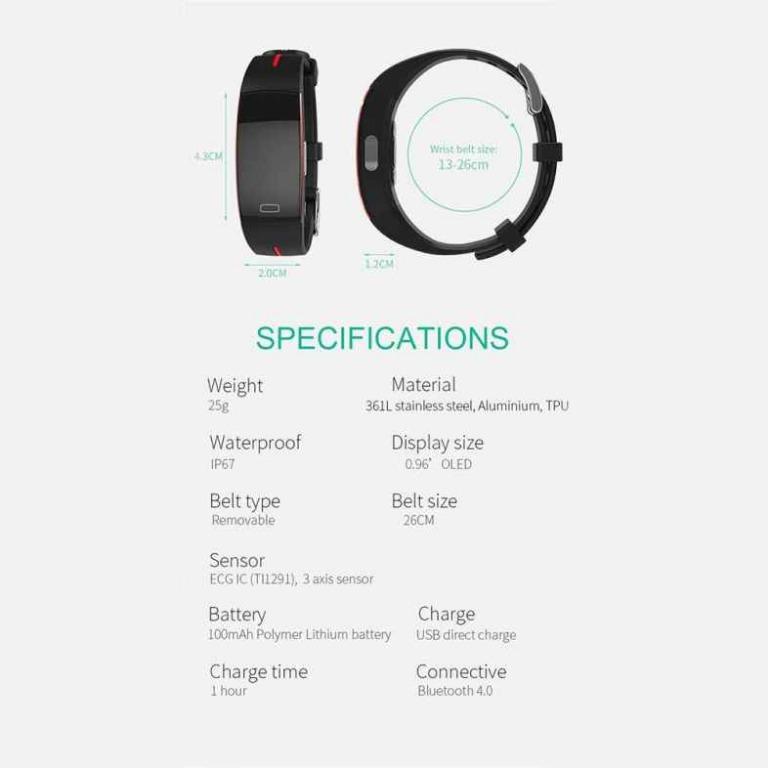 P3 Smart Bracelet Color Screen PPG + ECG ECG Blood Pressure Real-Time Heart Rate (Black)