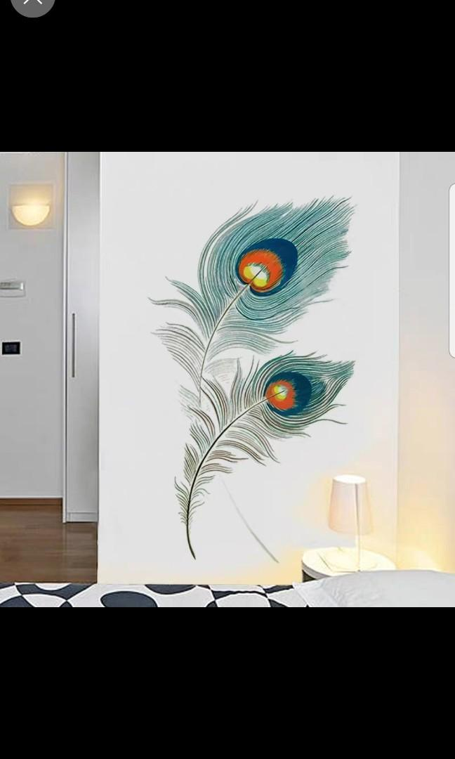 🎉New Arrival Peacock Feather wall stickers creative personality art stickers living room wall door stickers college dormitory wall painting self-adhesive ℹSize W65*H100cm