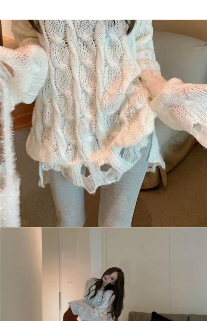 PO Knit Knitted Outer Top Long Sleeve Sweater T-shirt Top Asymmetrical Shirt Ulzzang White
