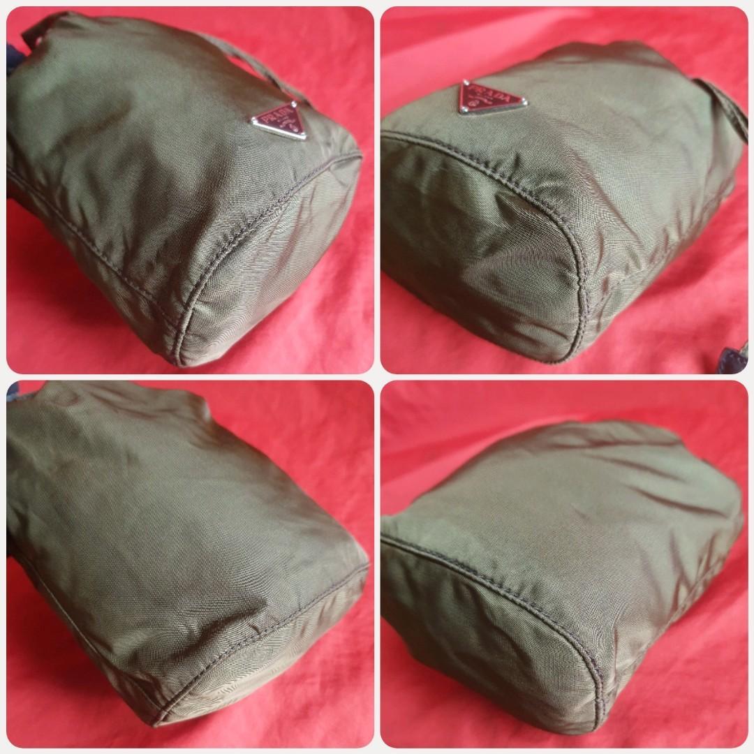 🛑Prada Army Green Tessuto Drawstring Mini Bucket Pouch Bag