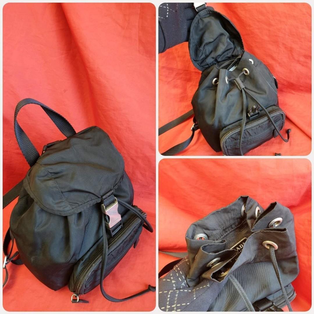 🛑Prada Classic Mini Backpack Black Tessuto Nylon Fabric Knapsack Bag