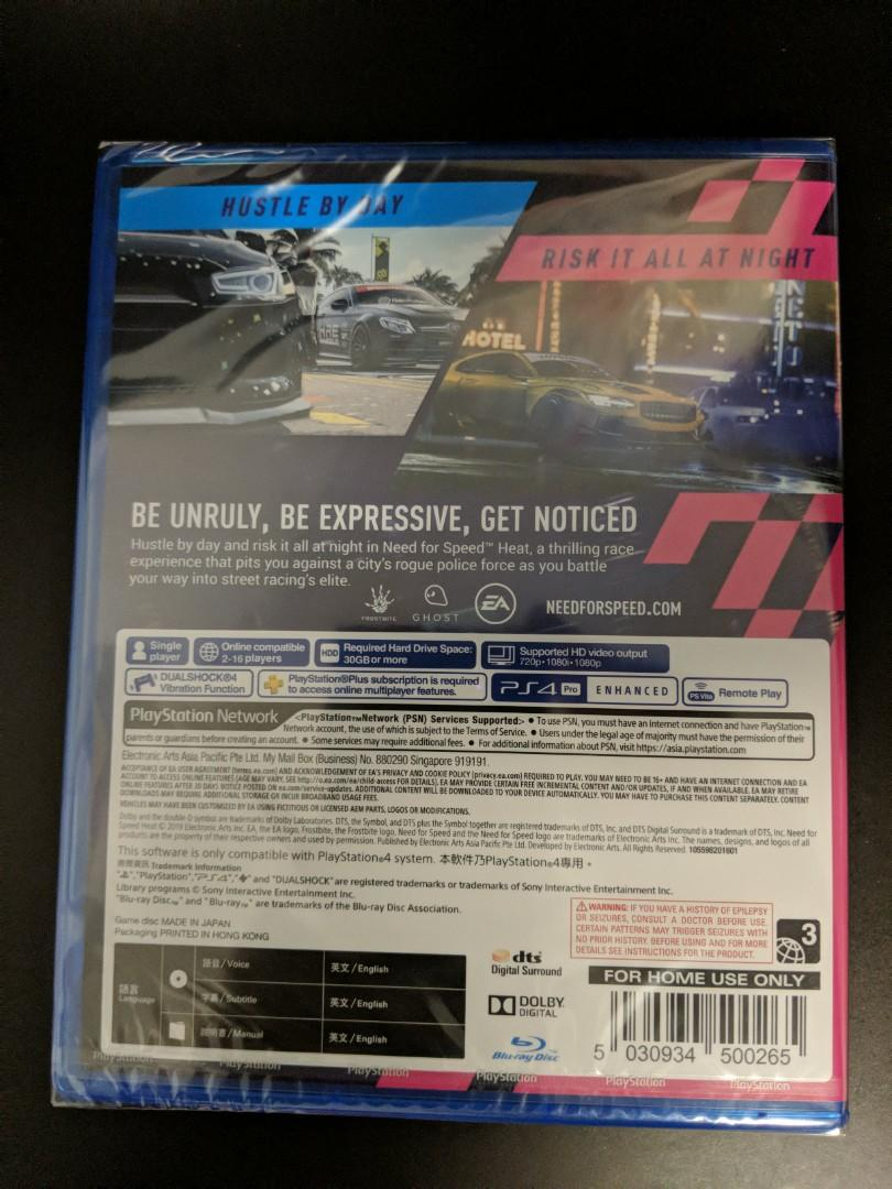 PS4 Game Need For Speed Heat (New) * Region 3