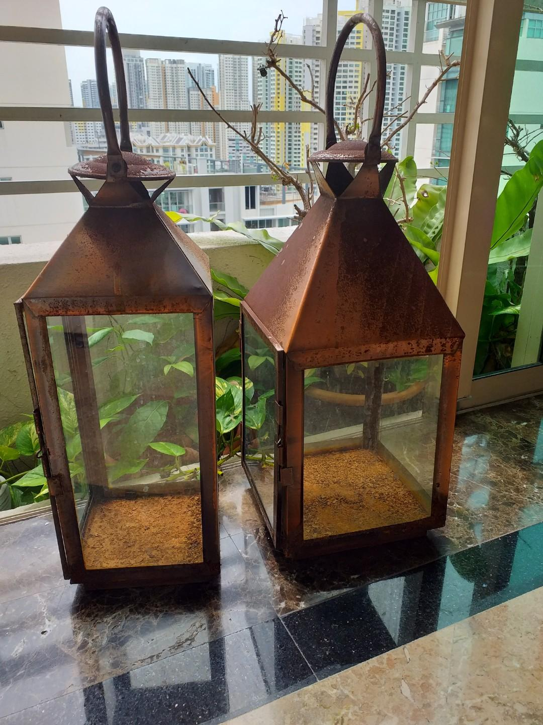 Rustic Lamp Candle Light Lantern Plants Casing for  Garden House Cafe Decor  Use