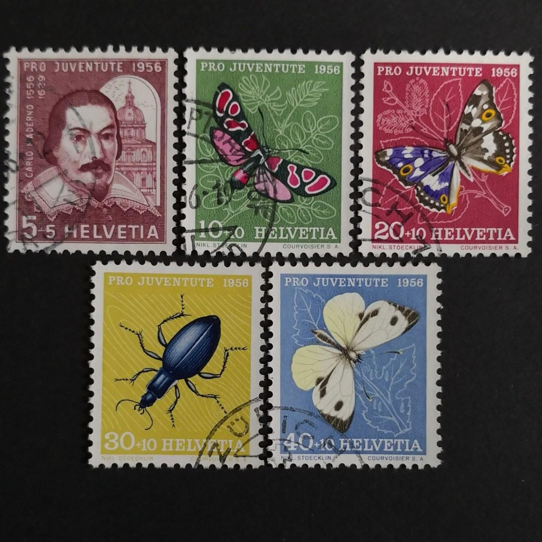 Switzerland 1956. Pro Juventute - The 400th Anniversary of the Birth of Carlo Maderno - Insects - complete stamp set