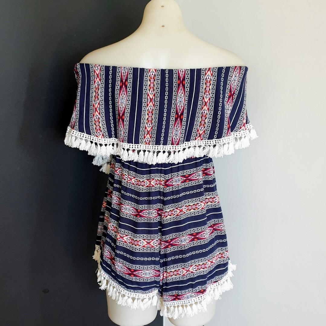 Women's size 12 'PAPER HEART' Stunning bohemian offshoulder viscose romper playsuit- AS NEW