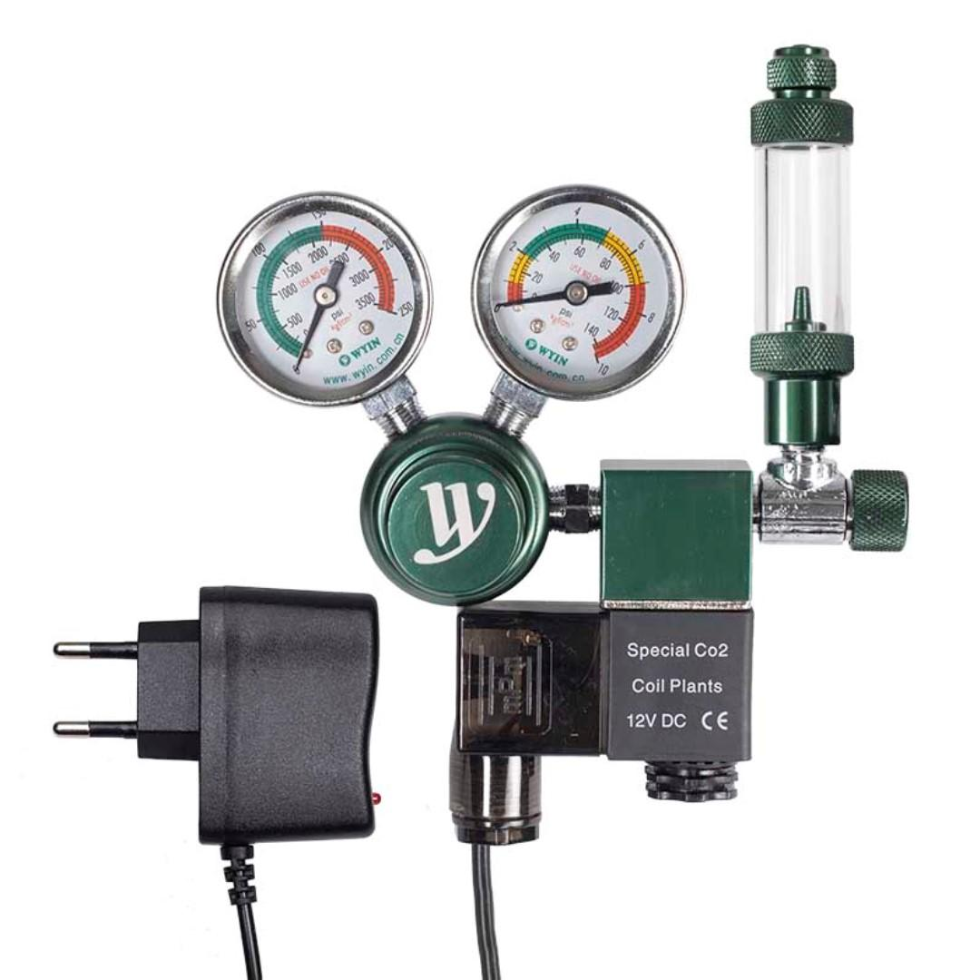 Wyin CO2 Solenoid Valve Regulator for Aquarium Fish Tank With Dual Pressure Gauge and Bubble Counter. Low Voltage supply