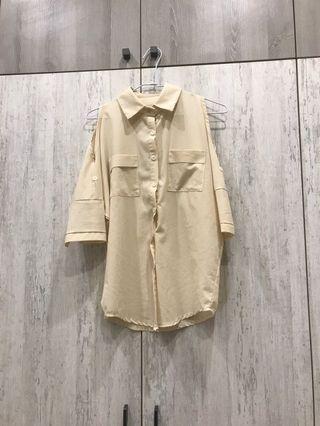 米色露肩性感雪紡襯衫