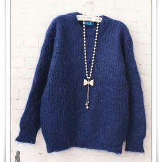 全新 80%Wool簡單素雅長毛寶藍色毛衣(X+Y品牌)不含項鍊