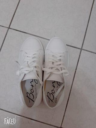 bonjour懶人休閒厚底小白鞋
