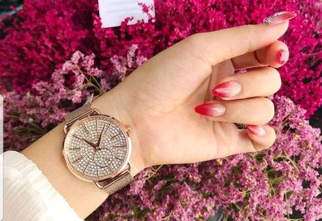 MICHAEL KORS MK3878 3.6mm玫瑰金色鑽面鋼錶帶 女錶 手錶 腕錶