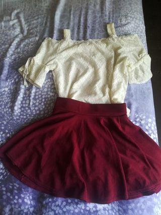 Top and skirt set wear