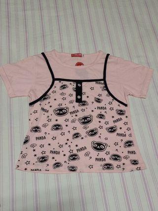 【全新童裝】零碼童裝 假兩件粉色上衣130碼
