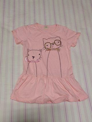 【全新童裝】零碼童裝 可愛猫咪粉色洋裝11碼
