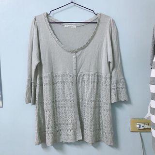 日貨 鏤空花紋薄針織外套