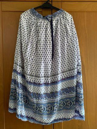 Printed Blue & White Skirt