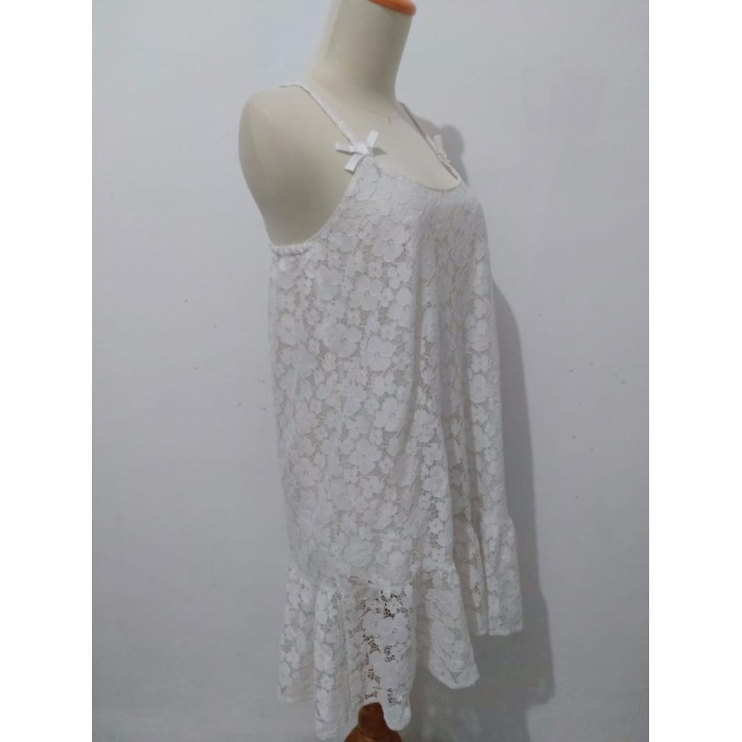 #1111spesial Sleepwear White Laced