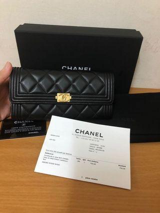 全新專櫃正品Chanel boy羊皮翻蓋長夾