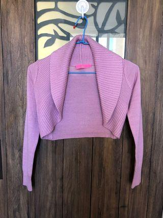 韓版超短型外翻領毛衣小外套
