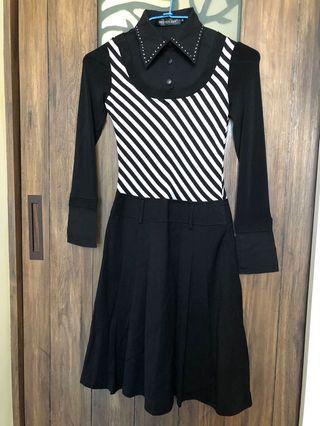 黑色斜條紋收腰襯衣領連身洋裝