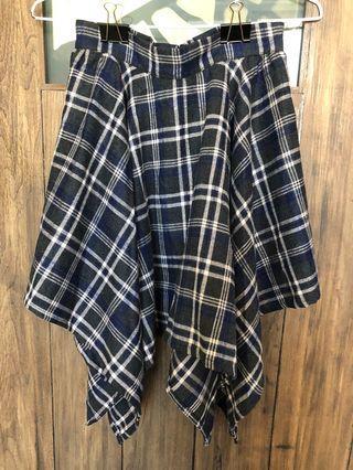 秋冬季英格蘭格紋不規則裙襬半身裙