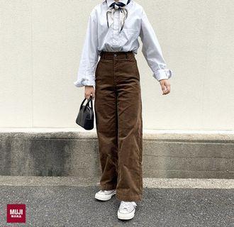平常小姐➘年末➘全新 MUJI無印良品 女有機棉混彈性燈芯絨舒適寬擺褲ⓢ深棕色 舒適好穿好搭 冬天必備