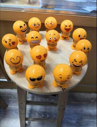 Sales😍1 set of  14 Emoji smiley Head shaking car spring doll