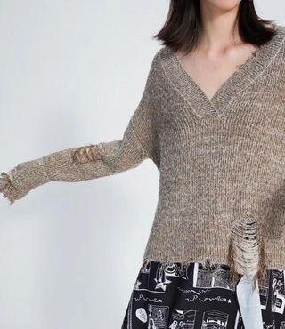 OshareGirl 11 歐美女士獨特紗線亮絲破洞V領長袖針織衫毛衣