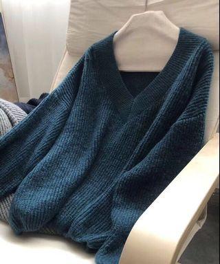 OshareGirl 11 歐美女士大V領羊毛混紡針織衫毛衣