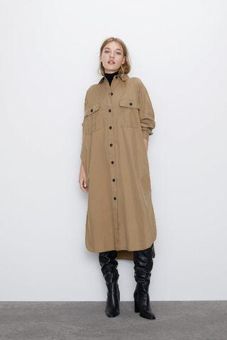 平常小姐➘年末➘2手 ZARA最新秋冬款 連身襯衫ⓧⓢ-ⓢ 駝色 日系長版襯衫 背後抓皺好看 長版外套