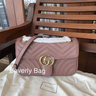 Jual Tas Bag Gucci Marmont GG LEATHER MIRROR QUALITY - Nude