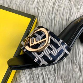 PO.3-5hari. Fendi heels. Size 36- sole 23cm, 37- sole 23.5cm, 38 -sole 24cm, 39- sole 24.5cm, 40- sole 25cm. Heels.5cm.(LIMITED STOCK). Fendi seri  Fendi Roma FF velvet heels. Brown & Grey.