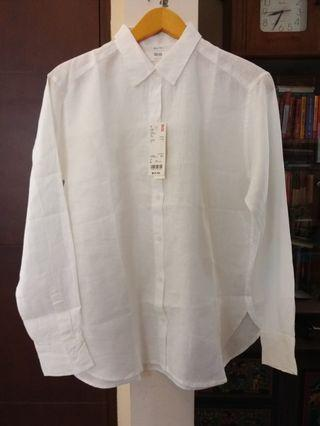 Uniqlo white linen loose blouse #1111special