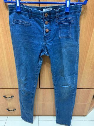 Pazzo 排扣刷色窄管褲 m號
