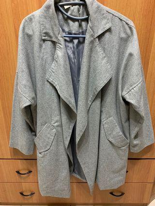 韓 毛呢感帥氣大衣外套