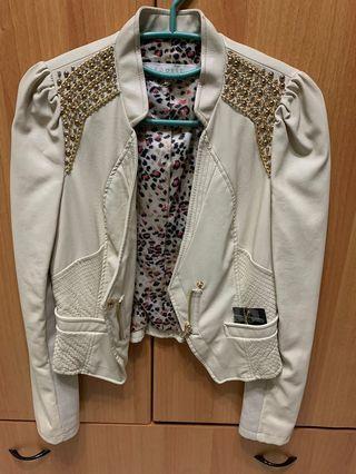 韓國品牌EGOIST米色皮衣外套 超有氣勢
