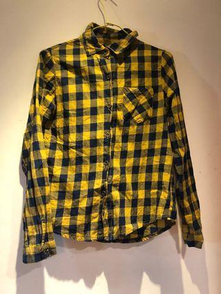 黃藍格子長袖襯衫#剁手時尚