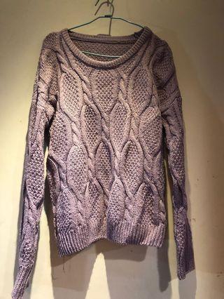 淺紫色厚針織毛衣上衣#剁手時尚